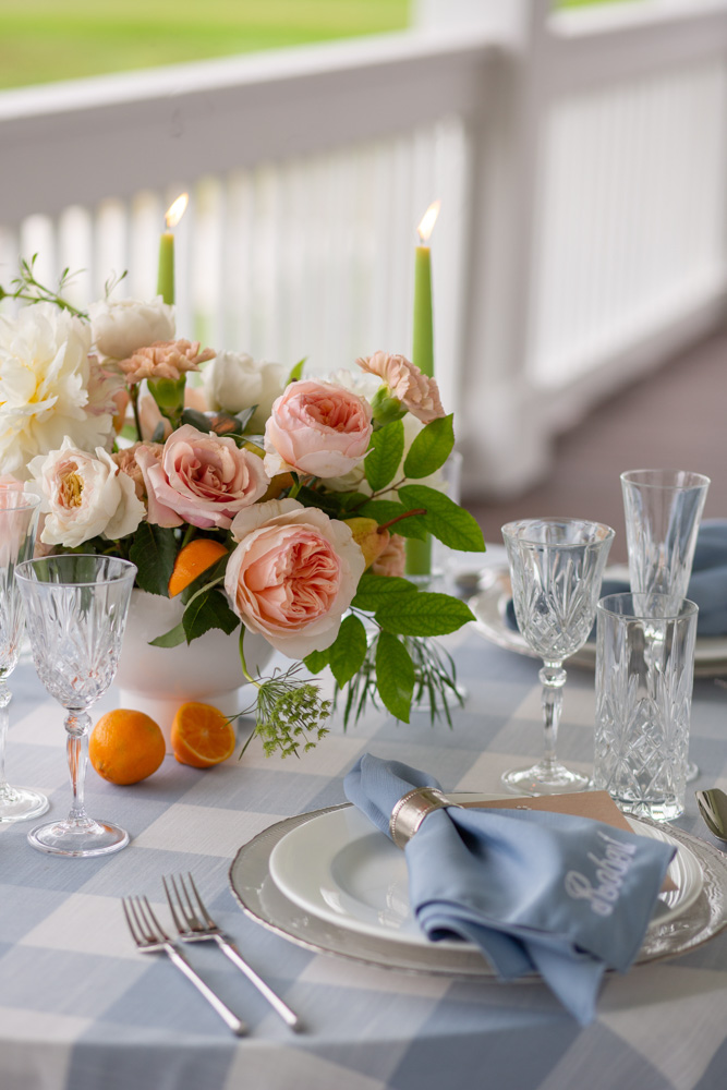 ACA grace etched stemware table setting