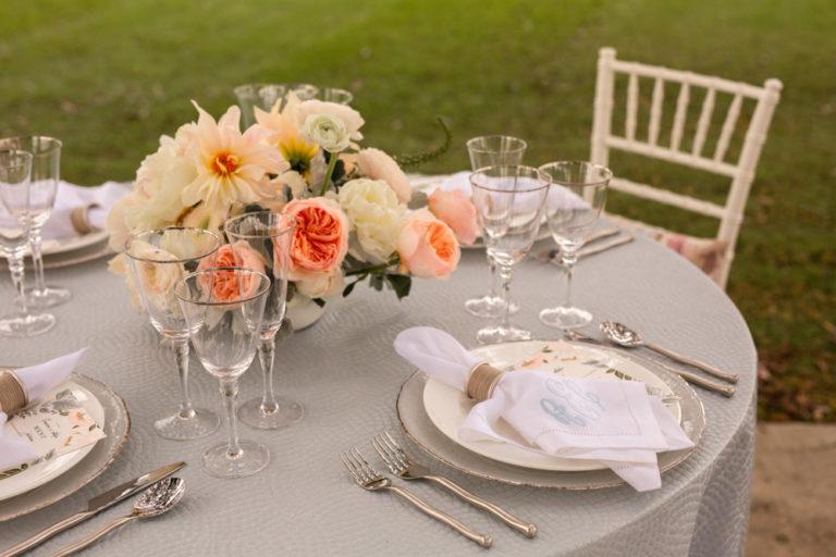 silver table settings