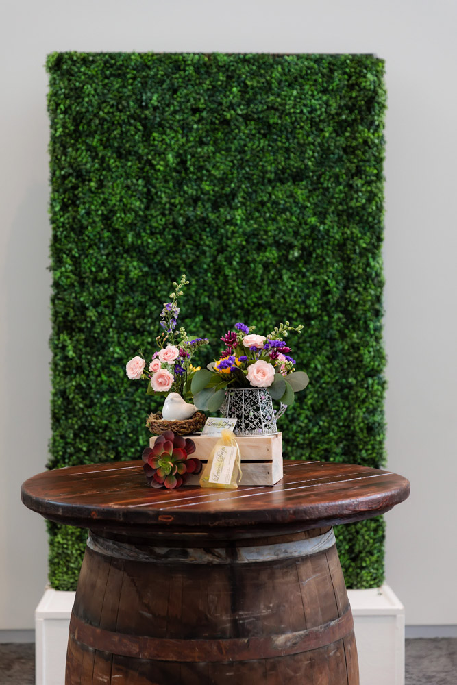 Wine Barrel Table and Hedge Wall