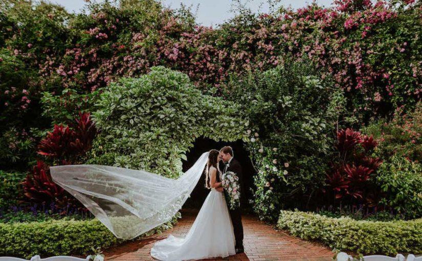 Bride and Groom Portrait at Sunken Gardens