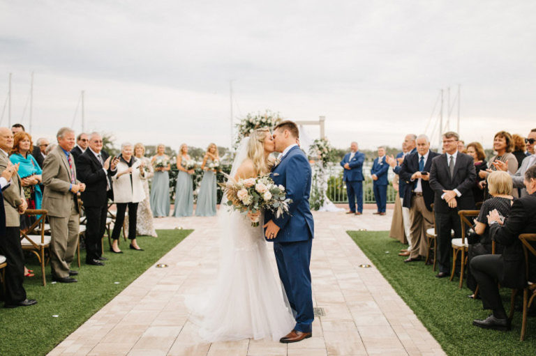 Couple Kiss after Ceremony