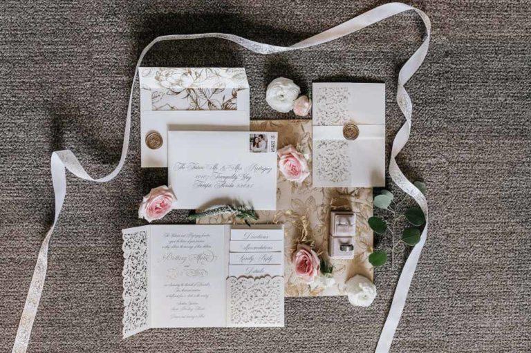 neutral wedding stationary