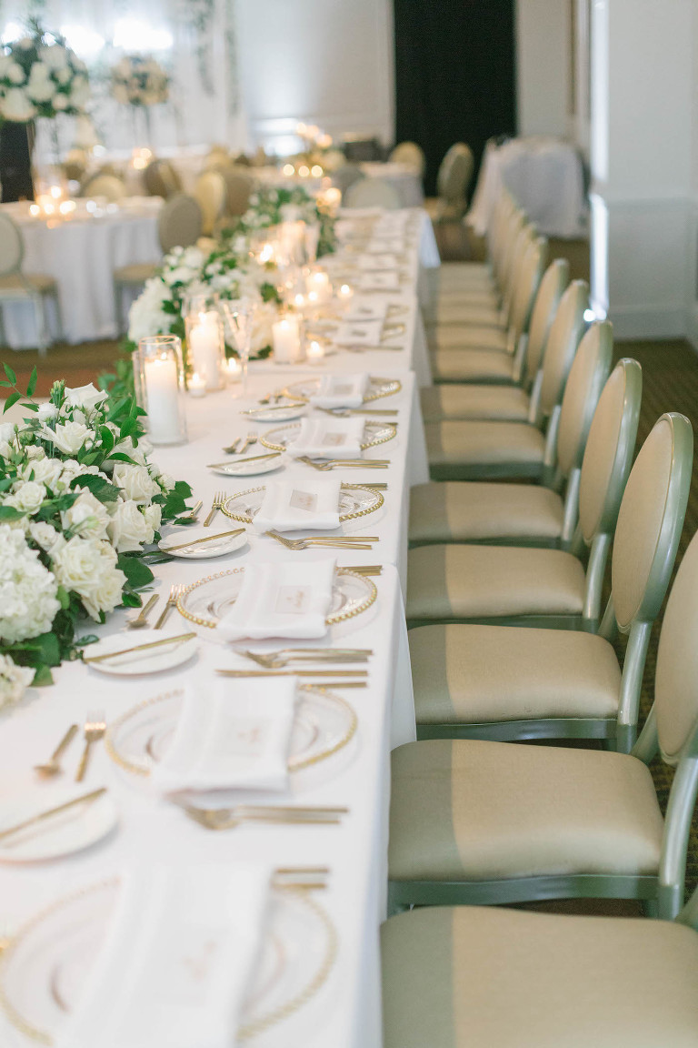 Head Table at White and Gold Wedding Reception