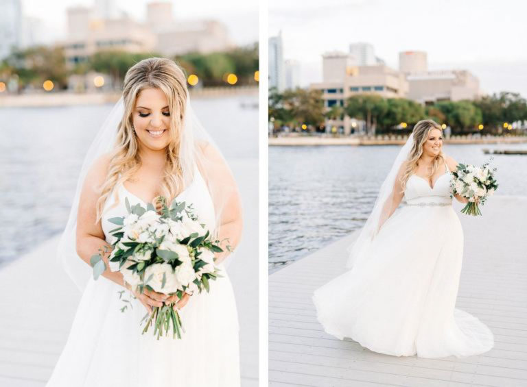 Tampa Bride with Green and White Bouquet