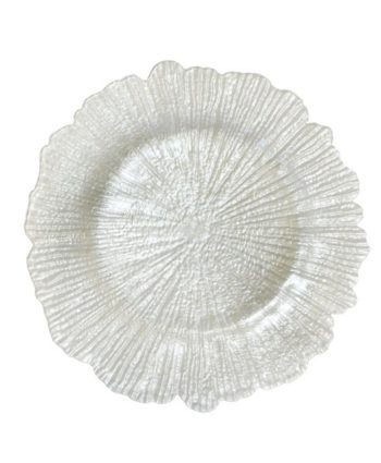 White Sea Sponge Glass Charger - A Chair Affair Rentals