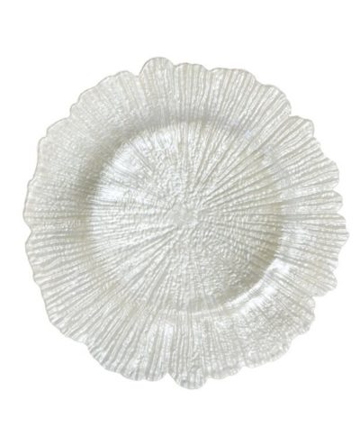 White Sea Sponge Glass Charger – A Chair Affair Rentals