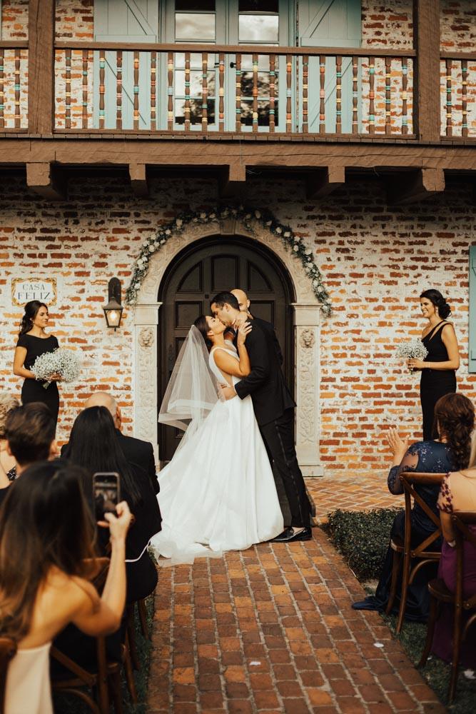 Bride and Groom Wedding Ceremony at Casa Feliz