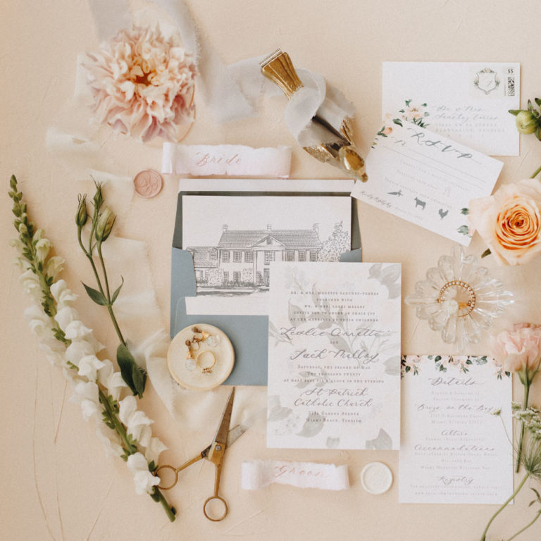 stationary details of styled shoot at Adams Estate
