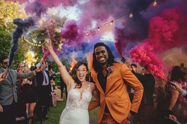 Romantic Smoke Bomb Wedding