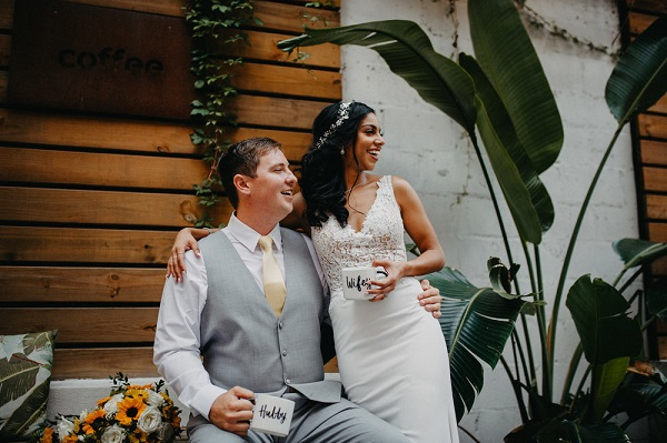 Sunflowers and Navy Rooftop Wedding